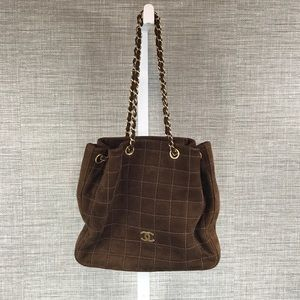CHANEL Bags - Vintage Chanel Small Brown Suede Tote Bag